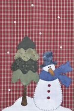 Snowman Christmas Tree ~ Wooden Bear Quilt Designs ~ Applique Pattern tea towel