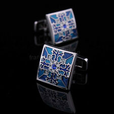 Classic Mens Wedding Party gift shirt Square blue cufflinks cuff links