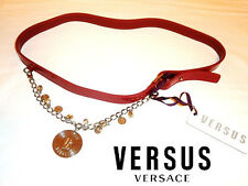 VERSACE Versus ~ NEW patent leather Dark RED belt with Charms * AUTHENTIC