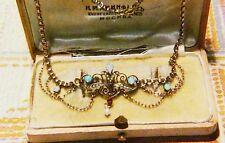 Antik Jugendstil um 1900 Rubin Opalen Perlen Gold Double Collier 40cm  Kette RAR