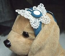 "S Dog Clothes Dress Headband Sweet White Polka Dot on Blue Costume Pet 12"" Long"