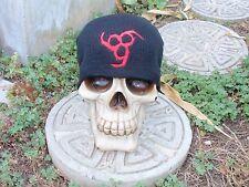 666 circle red embroiderd black beanie hat monster pentagram horror