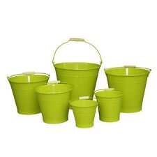 25cm Green Zinc Bucket/Metal/Tin/Container/Storage/Flower Pot/Home/Garden