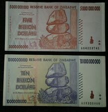 5 & 10 Billion Dollar Zimbabwe bills. Hyperinflation  FREE SHIPPING!!!!