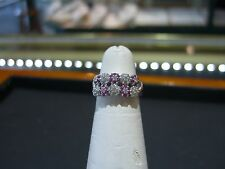 FINE 18 KARAT WHITE GOLD DIAMOND AND PINK SAPPHIRE RING HAND MADE SIZE 5.25 NEW