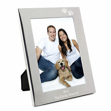 Personalised Silver Paw Prints 5x7 Photo Frame - Engraved Free - Cat, Kitten