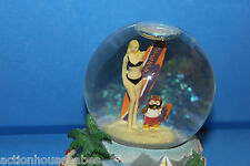 HOOTERS SURFER GIRL & HOOTIE SNOW GLOBE @ HOOTERS BEACH, SURFBOARD