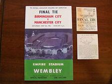 1956 F un programma finale Coppa & BIGLIETTO MANCHESTER CITY V Birmingham City Menta FREGATURA
