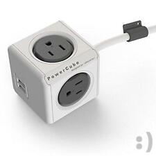 NEW PowerCube Dual USB Port with 4 Outlets 5ft Extension Cord Surge Protector