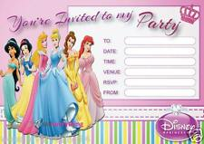 20x DISNEY PRINCESS PARTY INVITE BIRTHDAY INVITATIONS KIDS GIRLS A5 NEW