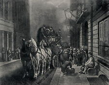 Antique Old Vintage Art Print c19th Victorian Royal Mail Post Office Stagecoach