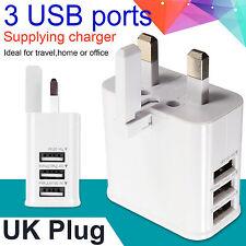 NUOVO 3 PORTE USB più Adattatore di alimentazione AC CARICABATTERIE VIAGGIO Muro Spina UK bianco