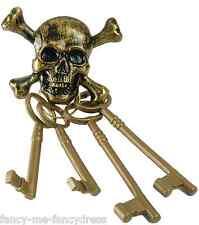 Pour Hommes Femmes Or Squelette Clefs Pirate Costume Déguisement Accessoire