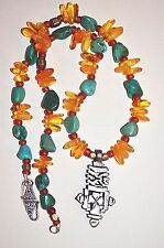 Ethiopian Christian Cross Necklace Antique Venetian Beads Real Amber & Turquoise