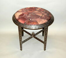 Stunning ART DECO Side Occasional Cocktail Table Pink Rose Marble Top Iron Base