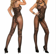 Black Sexy Open Crotch Fishnet Bodystocking/Catsuit Lingerie S 8-12