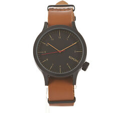 Komono Magnus Black Cognac Analog Men's Watch Leather Band KOM-W1901 Fast Ship
