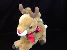 Fiesta Reindeer Red Nose Plush Stuffed Soft Toy 9""