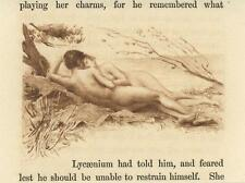 ANTIQUE ARTISTIC NUDE WOMAN MAN NATURE GRASS TREES PASTURAL TINY MINIATURE PRINT