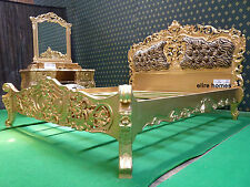 UK STOCK .. Gold 5' King size  Baroque French Rococo Bed with leopard upholstery