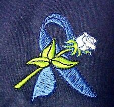 Blue Ribbon Sweatshirt L White Rose Navy Cancer Awareness Crew Neck Unisex New