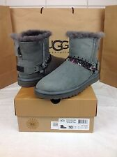 UGG AUSTRALIA CLASSIC MINI ROCK METAL CHAIN GRAY SUEDE BOOTS SIZE 10 US