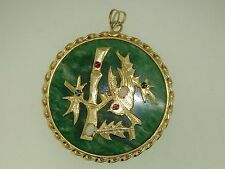 LARGE VINTAGE 1960'S CHINESE JADE OPAL GEMSTONE GOLD PLATED GOOD LUCK PENDANT!