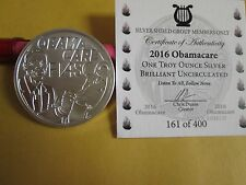 Silver Shield Group 2016 Obamacare Fiasco BU round 1 oz .999 silver