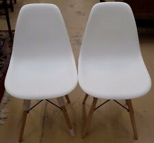 Pair Charles Eames Style DSW Mid Century Modern Chairs