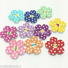 50 Wood Polka Dot Flower 20 mm - Buttons - Scrapbooking - Crafting - Sewing