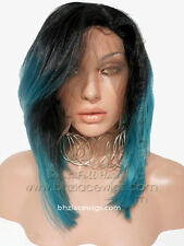 dark root green-blue angle bob Kylie Jenner hair kylie jenner lace front wig