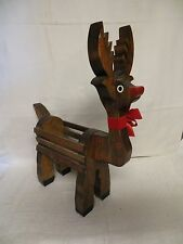 "Hand Made Hand Crafted Wood Reindeer -- 16"" Long - Chrisrtmas"