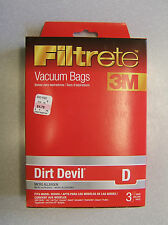 3M DIRT DEVIL D MICRO ALLERGEN VACUUM BAGS 3PC LOT #65701A