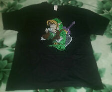 Zelda Link Character with Text T Shirt Black, Size XL, Triforce