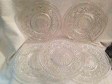 """5 Imperial Cape Cod Clear Glass 7 1/4"""" Sandwich or Salad Plates Five"""