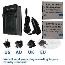 2X Battery+charger for Canon NB-11L CB-2LD IXUS150 IXUS155 IXUS160 IXUS165
