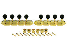 Kluson Supreme A Type Gold Mandolin tuners, 18:1 Ratio, Black Buttons