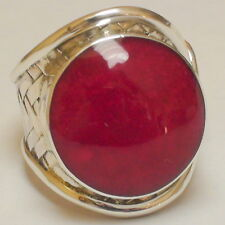 NATURAL! RED CORAL 49.90CT 925 STERLING  SILVER RING,SIZE 10.0,