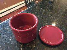 Longaberger Paprika Red, One Pint Crock Pottery, Woven Traditions, Salt & Lid