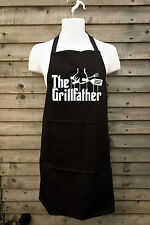 New Mens Novelty THE GRILLFATHER Funny Black Barbecue FULL LENGTH Apron BBQ Gift