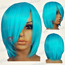"16"" Hi_Temp Vibrant Light Blue Long Layer Bob Cut  Short Cosplay DNA Wigs 65VLB"