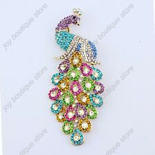 LARGE Multicolor crystal rhinestone HUGE peacock phoenix bird fashion pin brooch