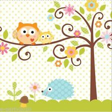 HAPPI TREE OWL LARGE NAPKINS (16) ~ Baby Shower Party Supplies Dinner Luncheon