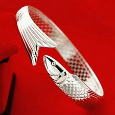 Adjustable Women 925 Silver Plated Fish Cuff Bangle Bracelet Best Lucky Jewerly