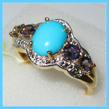 Sleeping Beauty Turquoise Catalina Iolite Ring 14K YG S Silver 925 sz 7 10
