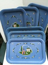 "Set of 6 Vintage METAL TIN SERVING TRAYS - Blue - Little Bo Peep 8 3/4""X 14 1/4"""