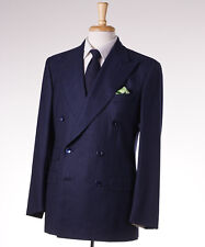 NWT $3795 BELVEST Navy-Sky Blue Stripe Soft Flannel 140s Wool Suit 38 R (Eu 48)