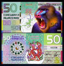 Kamberra, POLYMER, 50 Numismas, 2016 China Lunar Year, UNC   Monkey