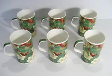 DUNOON Fine Bone China England  6- NOEL MUGS  Holly Berries Mistletoe Christmas