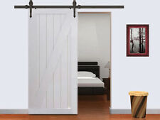 6FT Dark Coffee Modern American Style Barn Wood Sliding Door Hardware Closet Set